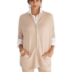 WHITE HOUSE BLACK MARKET Cowl Neck Zip Up Sweater